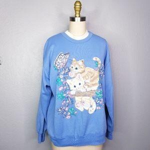 Vintage 90s kitten Cat pullover sweatshirt